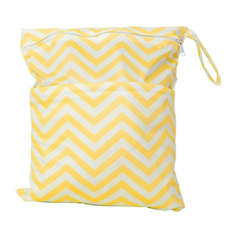 Baby Cloth Waterproof Diaper Bag Reusable Washable Bag, Double Zipper (Yellow + White, Ripple Pattern)