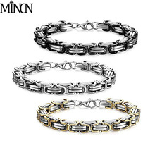 MINCN mens bracelets 2018 6 8 10mm wide stainless steel bracelet titanium Imperial return chain