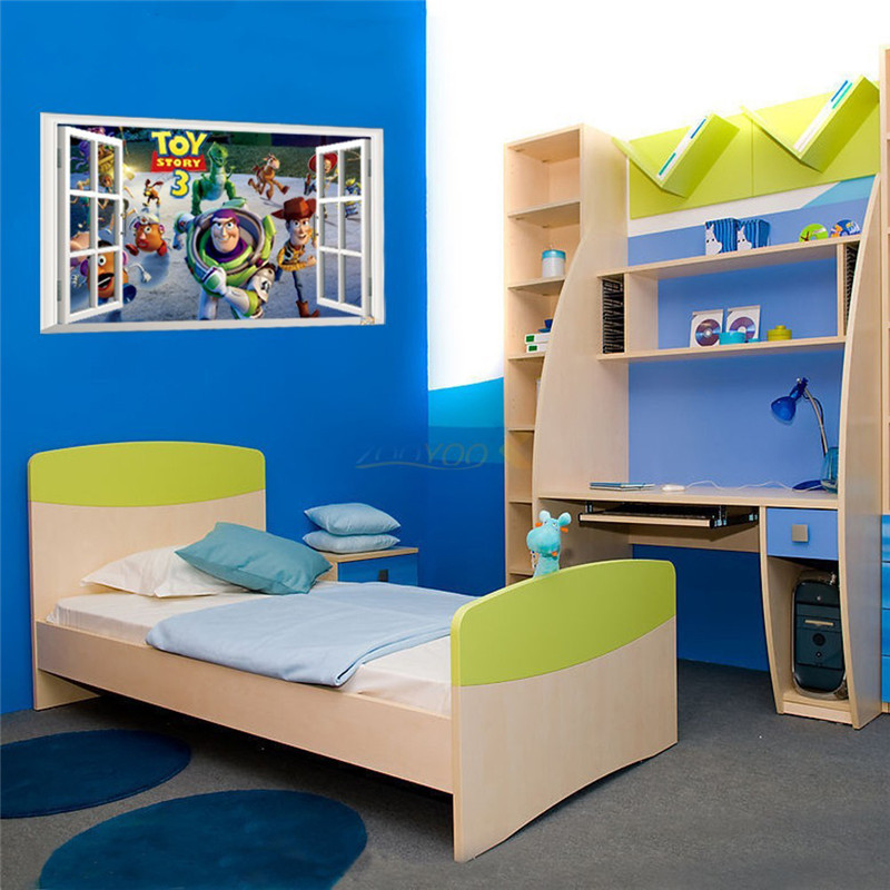 Cartoon Wallpaper Stickers Diy Toys Story 3 Window View Wall Stickers Muraux Art Poster Wall Decor