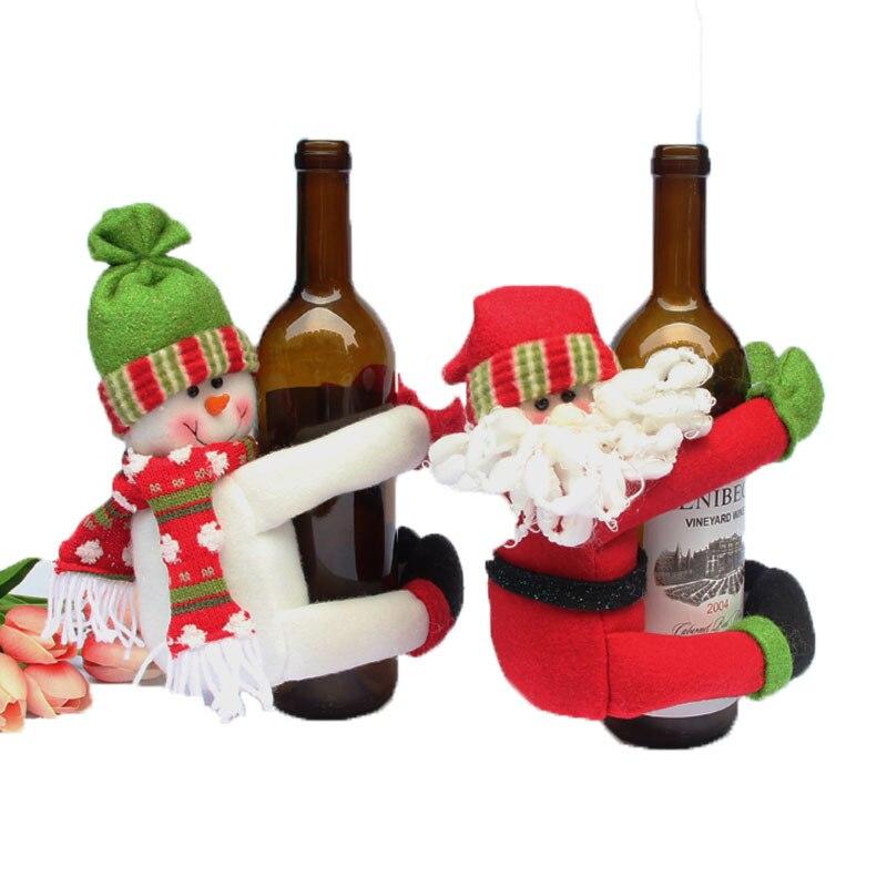 1PC 20x24cm Santa Claus Snowman Wine Bottle Table Decoration Large  Champagne Bottle Hold Toys For Home
