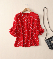 Women S Dot Print Lovely Silk Blouse Top Red Pink