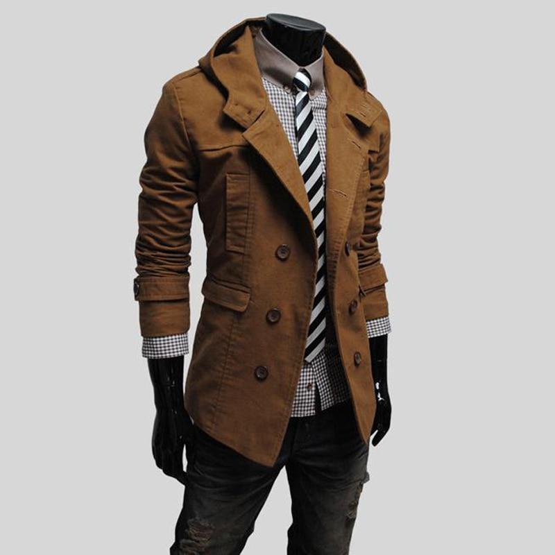 Double Poussière Casual Tranchée Gentleman Manteau Fit 2018 Coupe Mode À Slim De Hommes bleu Noir kaki Casaco vent orange breasted Aowofs Masculino Coton Capuche 7SnwwxU