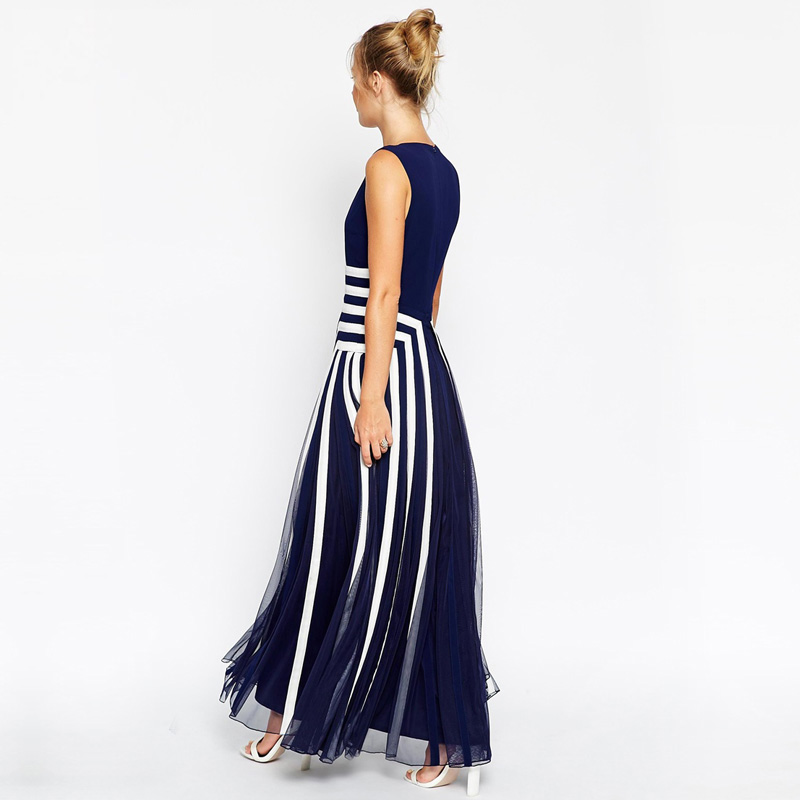 1b33c8bf5dc5d Plus Size Dress XXXXL Women Mesh Striped Maxi Dress Chiffon Long Patchwork Tank  Dress Summer TC19601010138-in Dresses from Women s Clothing on ...