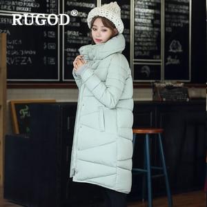 Image 3 - RUGOD zarif uzun yastıklı Parka palto İnce moda 2019 düğme cep uzun aşağı ceket kadın kalınlaşmak kış sıcak dış giyim kadın