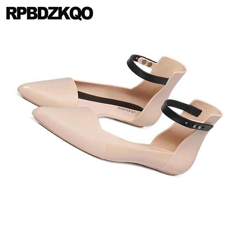c8d2c4407cf7 ... Nude Navy Blue Pointed Toe Rubber Sole Flats Comfortable Brand Cheap  Shoes China Sandals Vintage Women ...