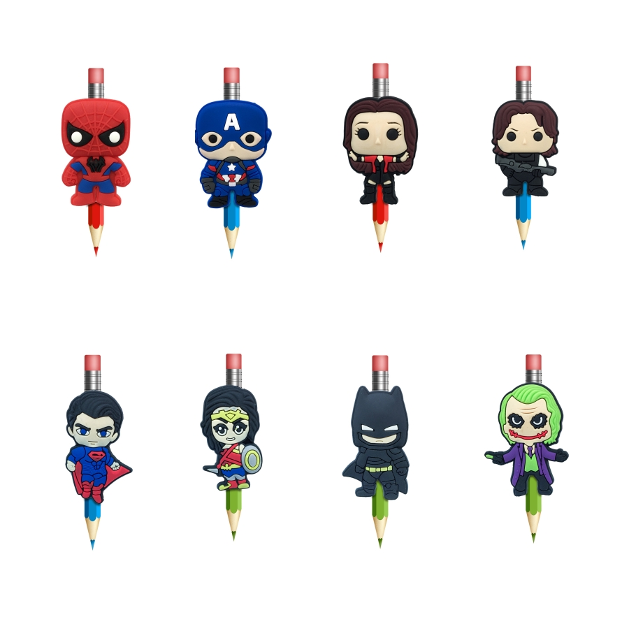 8Pcs Kawaii Pencil Topper Straw Charm Guardians Of Galaxy Pen Holders Stationary Office Students Supplies Pencil Grip Kids Gifts