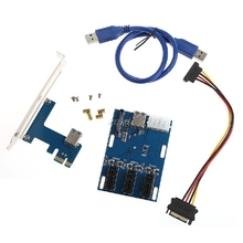 1 Port PCI-E 1X To 3 Slot 1X Switch Multiplier Expander HUB Expansion Riser CardDrop Shipping