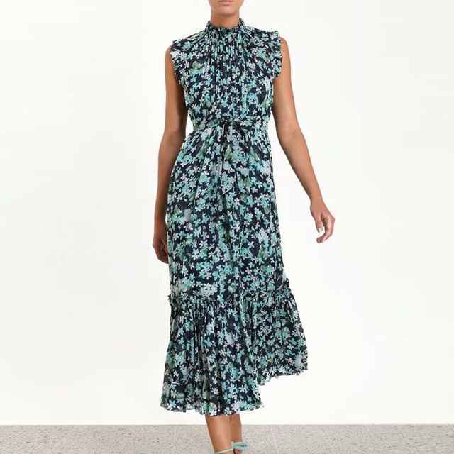 68ad3c125b692 US $56.09 15% OFF|HIGH QUALITY New Fashion 2019 Summer Runway Dress Women's  Elegant Ruffles Sleeve Blue Floral Printed Mid calf Casual Loose Dress-in  ...