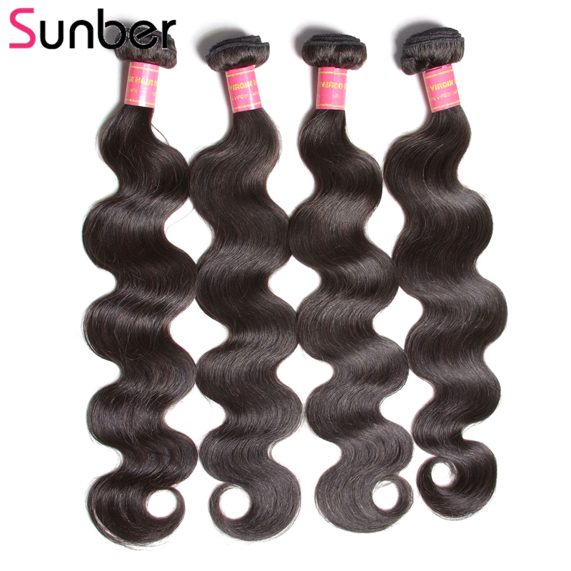 Sunber Hair 4 Bundles Body Wave Indian Human Hair Weave 8-30 Inch Natural Color Remy Hair Extension Can Be Colored And Restyled