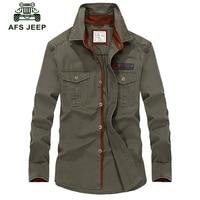 Hot Sale AFS Jeep Men Long Sleeve Shirt Cotton Fall Business Breakout Casual Long Sleeve Shirt