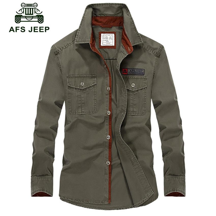 Heißer verkauf AFS Jeep Männer Langarm Shirt Baumwolle Herbst Business Breakout Casual Langarm Shirt Freies Hemd plus größe s-4XL Z78