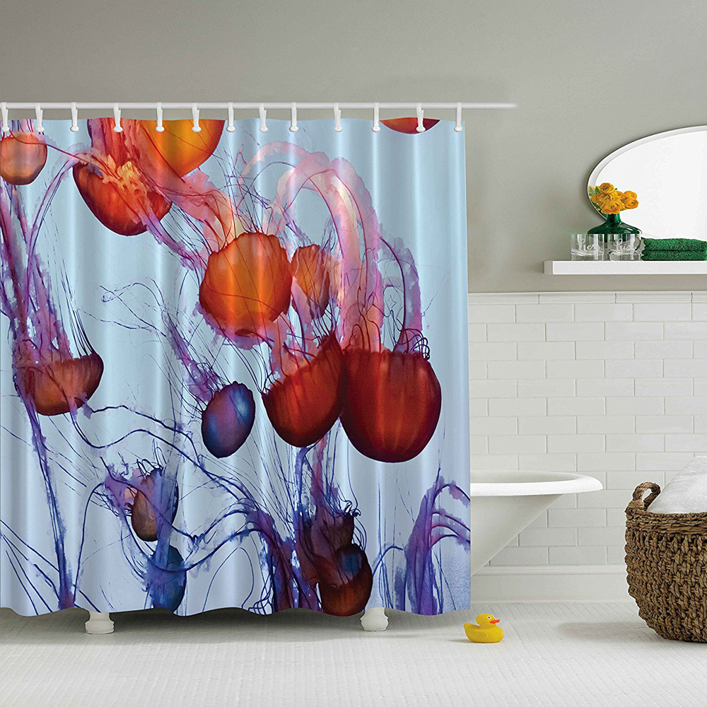 Shower Curtain Sea Animals Contemporary Nautical Abstract Artwork ...