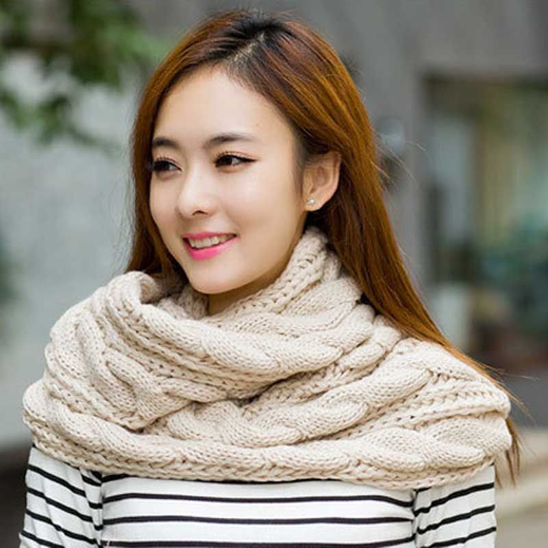 Trendy Womens Thick <font><b>Ribbed</b></font> Knit Winter Infinity Circle Loop <font><b>Scarves</b></font> Neckerchief Warm Twisted Soft Hijab Students Christmas Gift