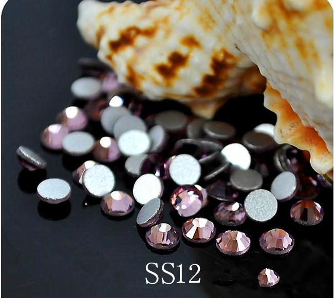 1440pc/bag SS12 3.0-3.2mm LT.Amethyst Non HotFix FlatBack Rhinestones,Glass Glitter Glue-on Loose DIY Nail Art Crystals Stones ss12 3 2mm aqua marine nail rhinestones 1440pcs bag non hotfix flatback crystals glass strass glitters for nail art glue stone