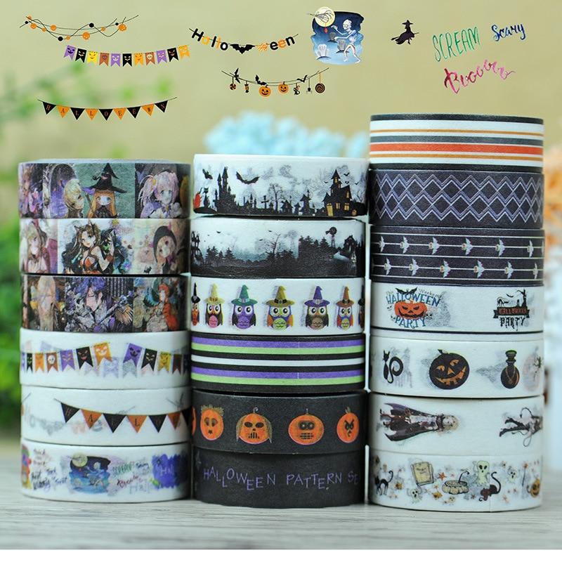 Happy Halloween Washi Tape - Kawaii Card Making &Cheap Planner Stationery, Kids' Crafts Washi Tape Set Pumpkin 19pcs sale 7M/PC цены