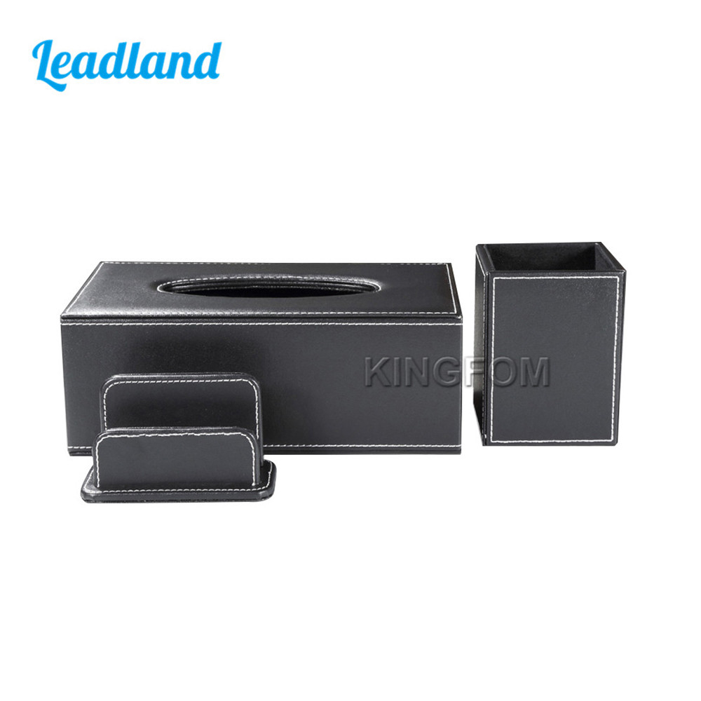 Modern Style Office Desktop Stationery Organizer Set Include Tissue Case Pen Holder Business Card Holder Stand T101 цена и фото