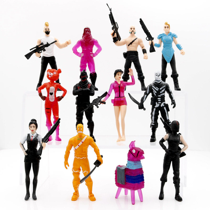 12pcs Fortnight Battle Royale PVC Characters + Weapons Collection Model Doll Alpaca Fortnite Action Figure Toy for children Gift