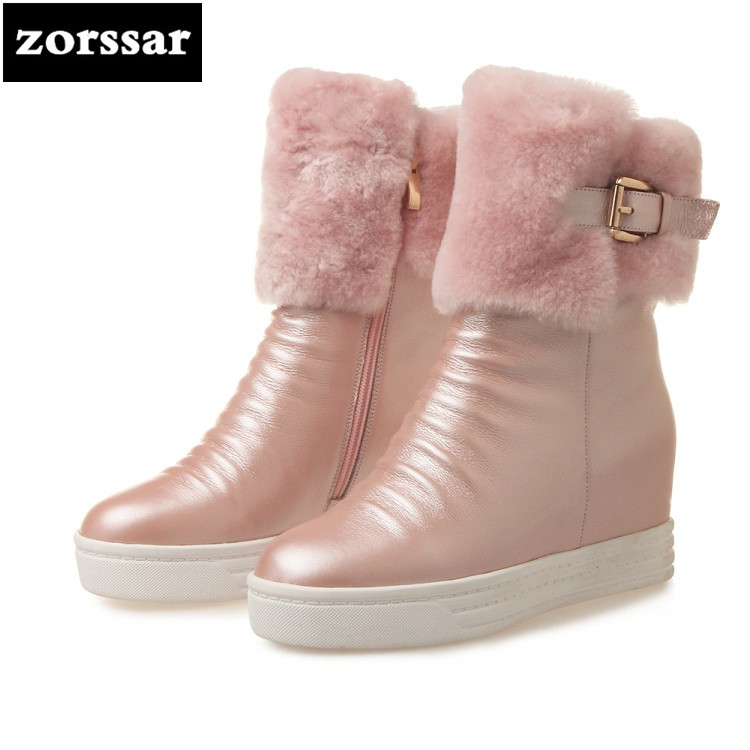 {Zorssar} Genuine Leather High heel ankle boots women snow boots winter Warm plush Womens Shoes platform Booties botines mujer womens faux leather comfortable ankle boots platform high heel booties for women fashion buckle winter dress shoes black white