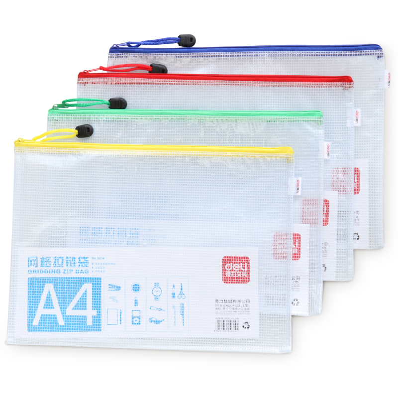 5pcs/lot File Folder A5/B5/A4 Mesh Zipper Bag Waterproof Document Classified Storage Stationery File Holder Office School