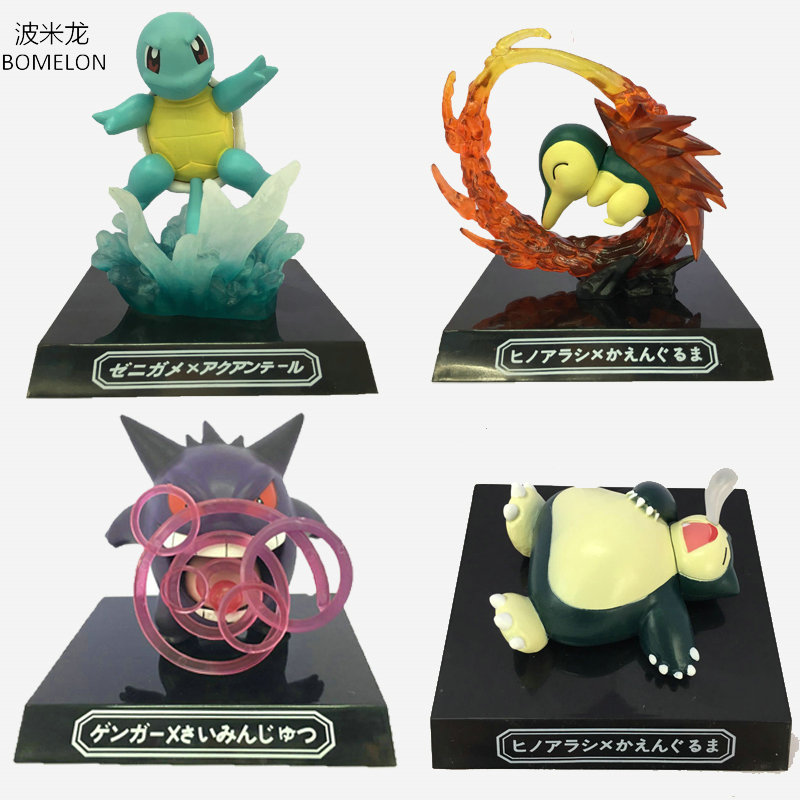 GK Squirtle/Cyndaquil/Snorlax/Gengar Aciton Figures Game Anime Puppets WAZA MUSEUM Dolls Kids Birthday Gifts Pocket Monster Toys boss waza 212
