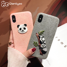 Qianliyao Cute 3D Embroidered Panda Phone Case for iPhone 6 6S 8 7 Plus 11 Pro Max Case For iPhone X XS Max XR Soft Back Cover new iphone case for iphone 11 for iphone11 pro max 5 8 inches 6 1 inches 6 8 inches 6 6s 7 8 plus ix xr max x fashion back cover