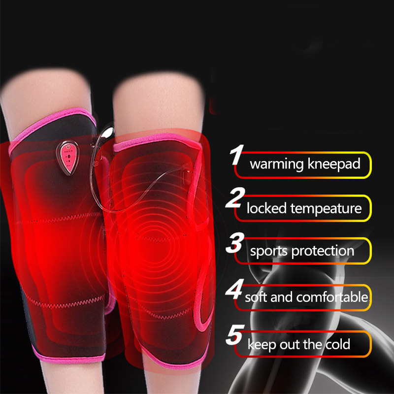 2017 Hot Sale Heated Pad Heat Therapy Knee Wrap Brace Thermotherapy Heating Pad Knee Injury Recovery Pain Relief 1pair health care knee brace support therapy compression sleeves for arthritis meniscus tear acl pain relief injury recovery