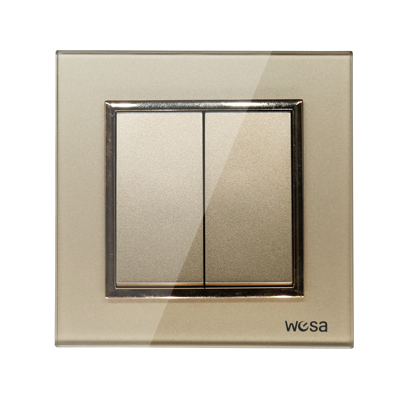 2019 New design EU Standard Wall Switch Luxury Gold Crystal Tempered glass, 2 Gang 1 Way Switch FB-02 1