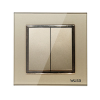 2019 New design EU Standard Wall Switch Luxury Gold Crystal Tempered glass, 2 Gang 1 Way Switch FB-02