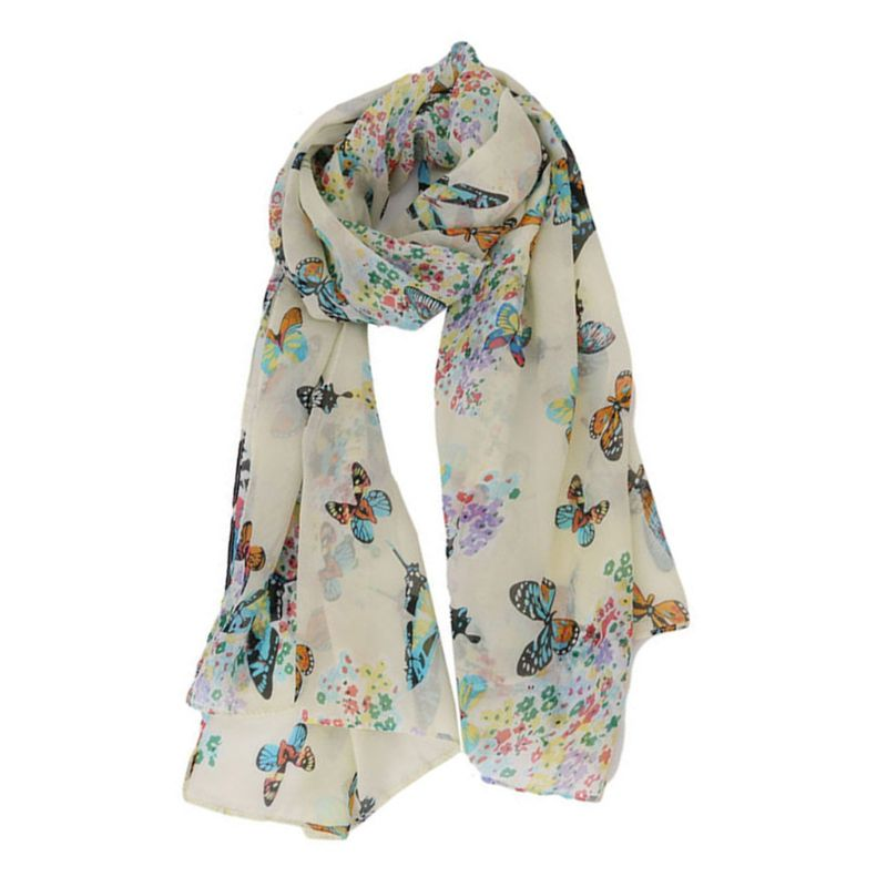 135x40cm Women Bohemian Chiffon Long Scarf Colorful Butterflies Floral Printed Shawl Lightweight Neck Soft Blanket Beach Wrap