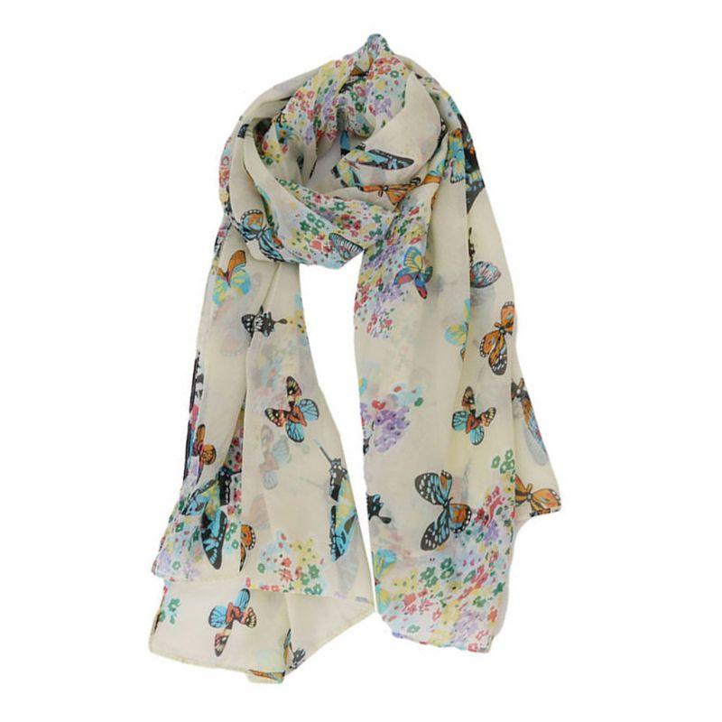 135x40cm Women Bohemian Chiffon Long   Scarf   Colorful Butterflies Floral Printed Shawl Lightweight Neck Soft Blanket Beach   Wrap