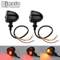 BJMOTO Pair Universal Motorcycle Modified Flasher Turn Signal Light LED 12V Indicators Traffic Lights Brake Rear Running Lamp