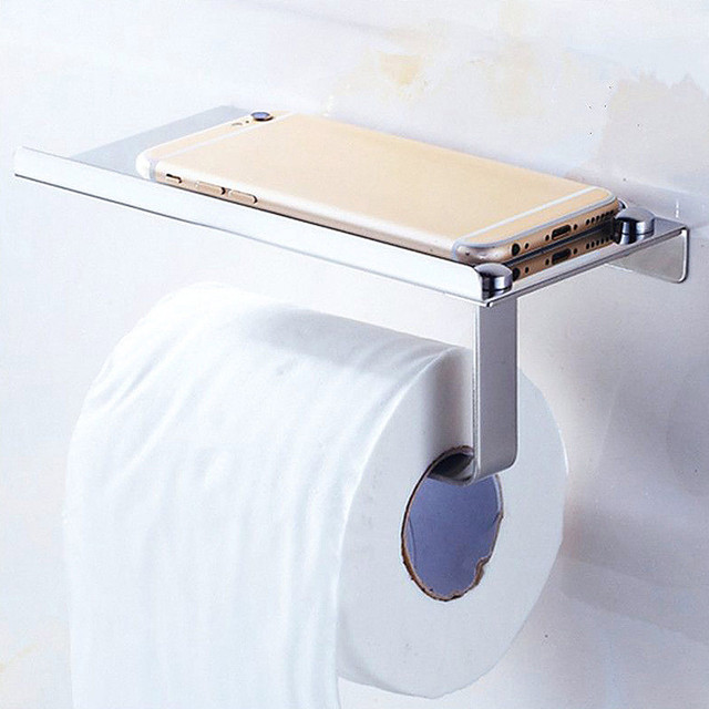 Stainless Steel Toilet Roll Tissue Holder Shelf Stand Cell Phone Bathroom Paper Dispensers Wall