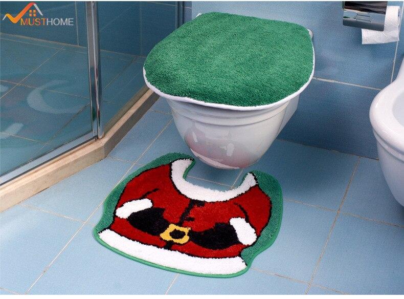 Microfiber acryl U-vormige toilet badmatten en toilet deksel pak 2st. - Huishouden