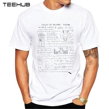TEEHUB teoria względności koszulka męska Hipster E równa się mc2 Design koszulka z krótkim rękawem styl matematyka koszulki męskie tanie i dobre opinie SHORT Na co dzień POLIESTER spandex Z okrągłym kołnierzykiem regular litera Z dzianiny tops Z KRÓTKIM RĘKAWEM