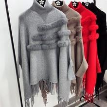 אופנה חדשה סתיו וחורף צווארון גבוה נשים אמיתי ארנב הפרווה גלימת פונצ ו סוודרי סריגי שרוולי עטלף ציצית גברת בסוודרים