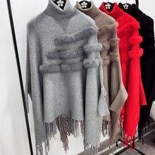 Neue Mode Herbst Und Winter Frauen Stehkragen Echten Kaninchenfell Mantel Pullover Dame Fledermaus Ärmel Quaste Poncho Pullover Strickwaren