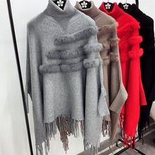 New Fashion Autumn And Winter Women High Collar Real Rabbit Fur Cloak Pullover Lady Bat Sleeves Tassel Poncho Sweater Knitwear