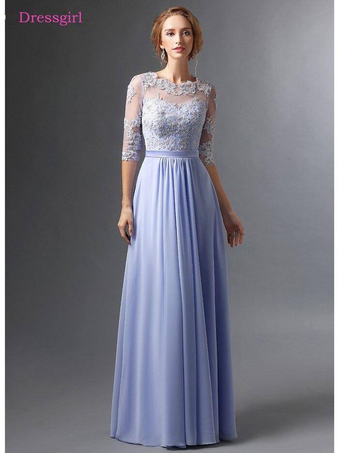 84f4e84ef06 Sky Blue 2018 Mother Of The Bride Dresses A-line Half Sleeves Chiffon Lace  Beaded Long Elegant Groom Mother Dresses Wedding