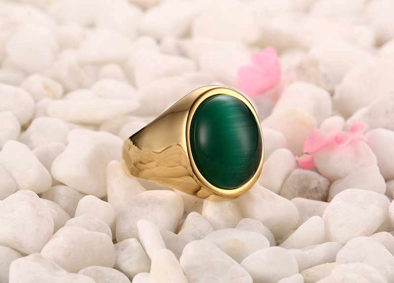 Vnox ชายสีเขียวรูปไข่ Cat's Eye Stone แหวนสแตนเลสสตีลสี USA ขนาด