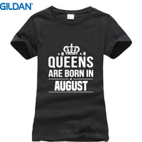 T Shirt Casual Clothing Gildan Women'S Novelty Crew Neck Short-Sleeve Queens Are Born In August Tees