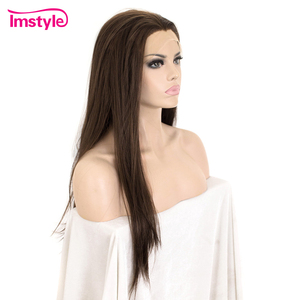 Image 3 - Imstyle Dark Brown Wig Synthetic Hair Lace Front Wig Straight Hair Wigs For Women Heat Resistant Fiber Glueless Cosplay Wig