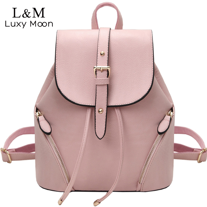 New Women Backpack Vintage PU Leather Backpacks School Bag For Teenage Girls 2017 Casual Black Rucksack