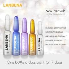 Ампульная сыворотка LANBENA Витамин С+ гиалуроновая кислота+ 24к золото+ Q10+ керамид против старения морщин Увлажняющий уход за кожей на 7 дней
