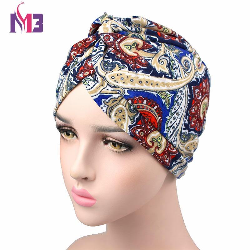 Spring Women Cotton Printing Turban Soft Headwear Twist Headband Hair Accessories Bandana Hijab Turbante Hat in Women 39 s Hair Accessories from Apparel Accessories