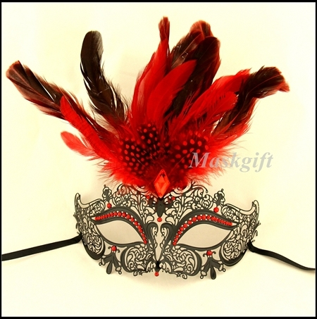 free shipping metal mask with feathers mb003b rbk laser cut metal