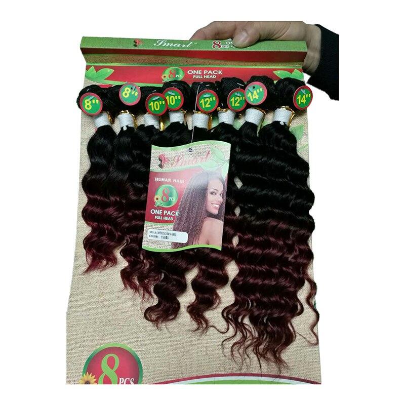 Необработанные Реми пучки волос Дешевые 8 шт./лот 8-14 дюймов афро странный вьющихся волос глубоко фигурные свободные пряди волос