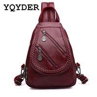 Fashion Double Zipper Leisure Women Backpack PU Leather Backpacks Female School Shoulder Bags For Teenage Girls