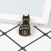 Pin de esmalte de gato negro para niños, broche de animales de dibujos animados, insignia de vida, broches de gatito para amigos, regalo de joyería para amantes