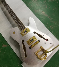 Custom F Jazz electric Silver color bigsby tremolo gold Accessories Hollow body цена и фото