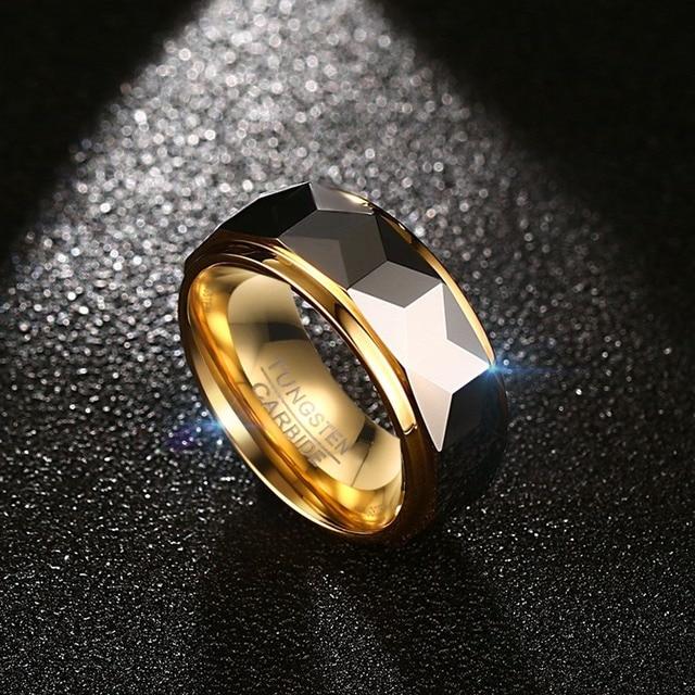 Meaeguet 8mm Anello Largo Sfaccettato Taglio Geometrica Carburo di Tungsteno Anelli di Cerimonia Nuziale Per Gli Uomini Maschile Gioielli Anelli Anelli Bague USA Formato 7-12
